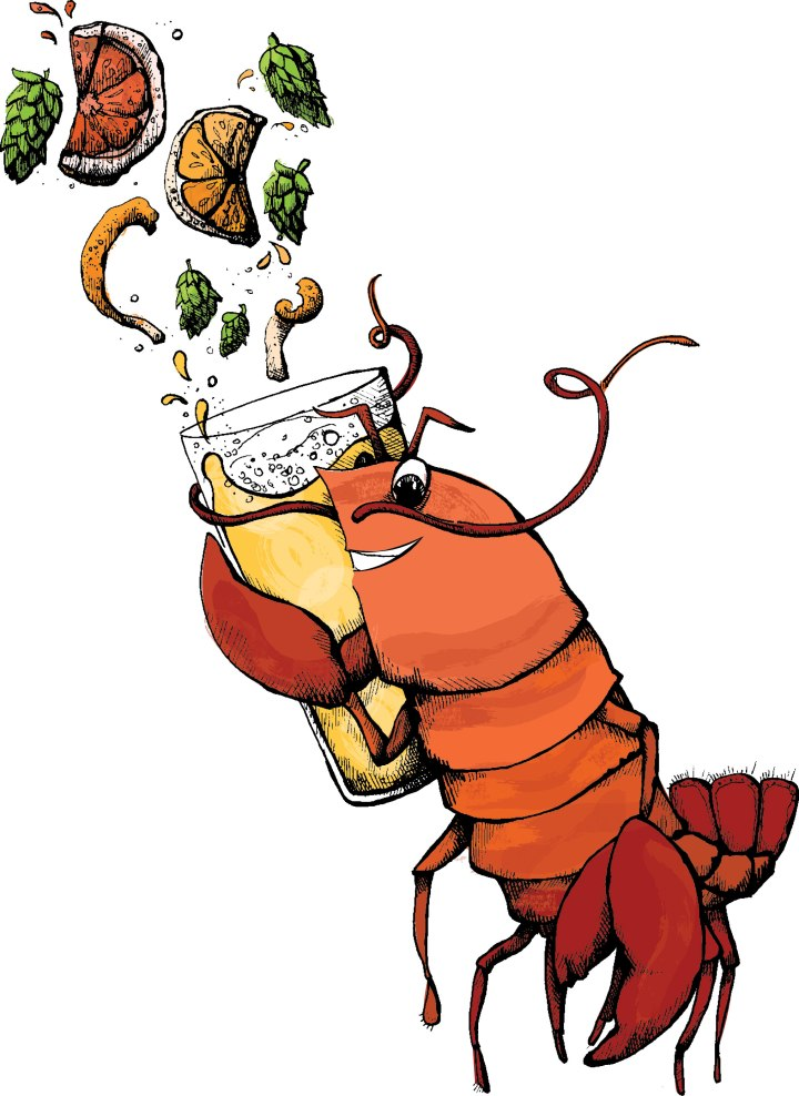 Boston Lobster drinking an IPA